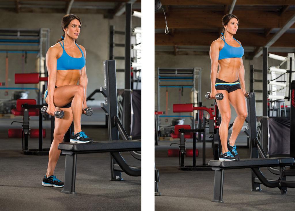 Dumbbell step ups | dumbbell oefeningen | beenspier oefening