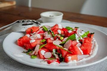 Meloen munt feta salade - matchu sports